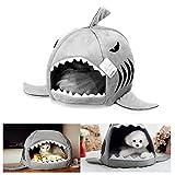 Pet Bed Mats, Han Shi Collapsible Indoor Pet Dog Cat Shark House Bed Shelter Cozy Nest Mat Pad (M(40*40CM), Grey)