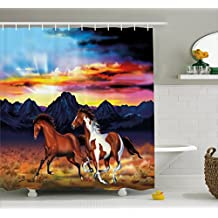 Ambesonne Western Shower Curtain by, Running Wild Horses at Sunset Artistic Rustic Landscape Colorful Sky Illustration, Fabric Bathroom Decor Set with Hooks, 70 Inches, Multicolor