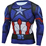 HOCOOL Mens Slim Compression Shirt,Captain America Short/Long Sleeve Runing Sport Tee