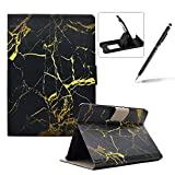 Wallet Folio Case for Amazon Kindle Fire HDX 7 inch,Bookstyle Flip Pu Leather Case for Amazon Kindle Fire HDX 7 inch,Herzzer Stylish Classic [Black Gold Marble Print] Stand Magnetic Smart Leather Case with Soft Inner for Amazon Kindle Fire HDX 7 inch