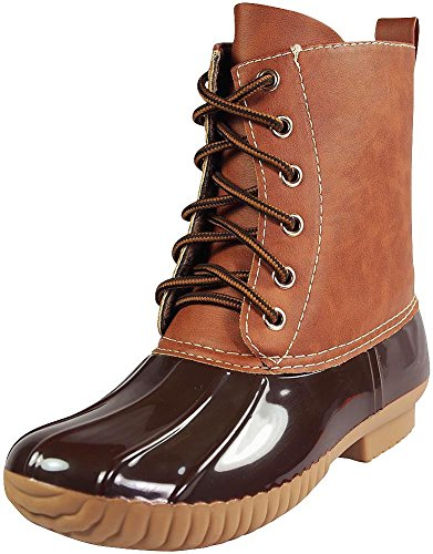 axny-dylan-womens-lace-up-two-tone-combat-style-calf-rain-duck-bootsbrown7