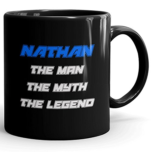 Personalized Gift for Nathan - The Man The Myth The Legend - Mug Cup for Coffee, Tea & Chocolate - 11oz Black Mug - Blue
