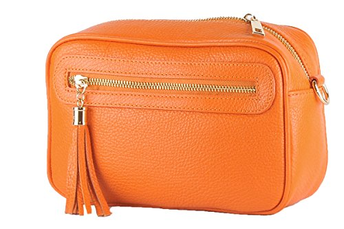 Italy 100 Genuine Orange SUSI Leather BORDERLINE Made Clutch in OtvqAZAw