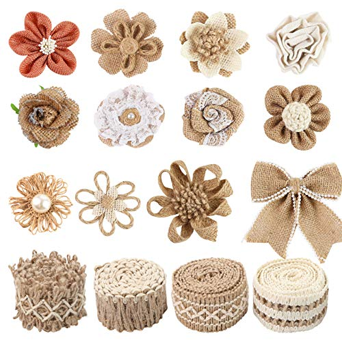 16 PCS Natural Burlap Flowers Set, Including 12 PCS Handmade Lace Burlap Flowers and Bowknots, 4 Rolls Burlap Ribbon for Christmas Birthday Party Wedding Home Embellishment DIY Crafts