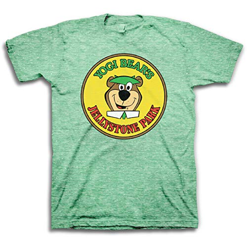 Yogi-Bear Mens Classic Shirt Hanna-Barbera Tee - Vintage Cartoon T-Shirt (Kelly Snow Heather, Large)