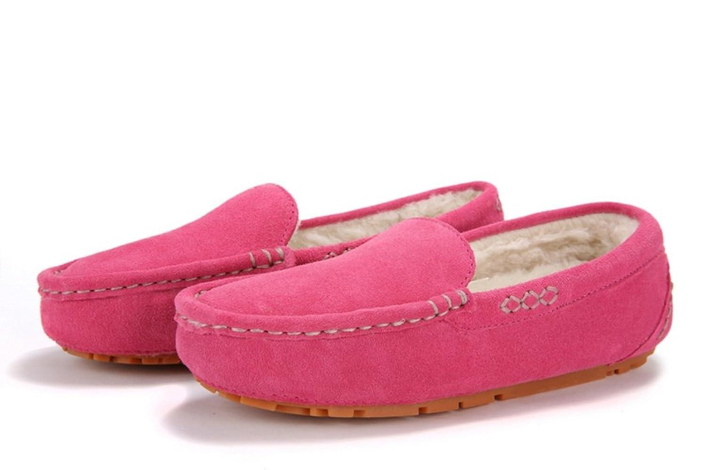 IVG Herren und Damen Leder und Wolle Mokassin Hausschuhe (5US/ 3.5UK/ 36EU/  220CM, Pfirsichblüte): Amazon.de: Schuhe & Handtaschen