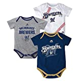 Outerstuff Milwaukee Brewers MLB Majestic Infant Three Strikes! 3 Piece Creeper Set