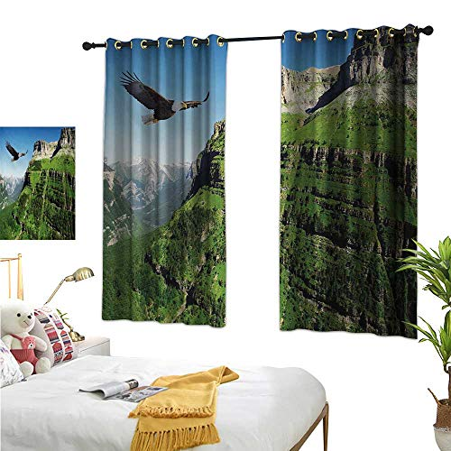 - Beaded Curtain Eagle,Wild Majestic Bird Flying Great Landscapes Green Mountains Forest Nature Image,Green Blue Black 72