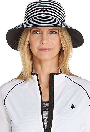Coolibar UPF 50+ Women's Reversible Pool Hat - Sun Protective (One Size - Black/White Stripe)