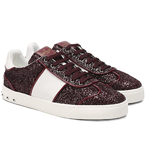 Valentino Women's Burgundy Glitter Sneakers Shoes - Size: 8.5 US