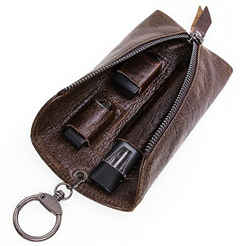 VEEAPE Universally Genuine Leather JUUL Pouch with Keyring Multiple Use Portable Vape Holster Carrying Case for JUUL, MLV PHIX, Smok fit Kit, INFINIX Kit by VEEAPE