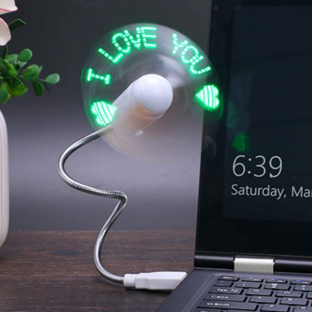 LED Programmable Fan Night Lights Soft Fan Leaves Maritown Portable Small USB Fan Mobile Fan for Laptop and PC