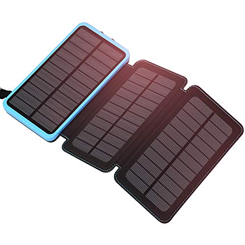 Solar Charger 24000mAh, FEELLE Solar Power Bank with 3 Solar Panels Waterproof Portable Battery Chargers Compatible All Smart Phones, Tablets and More