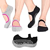 TAIDIKING Non Slip Socks Cotton Yoga Socks Pilates Ballet Socks Dance for Women Men 2 Pack(Black & Grey)