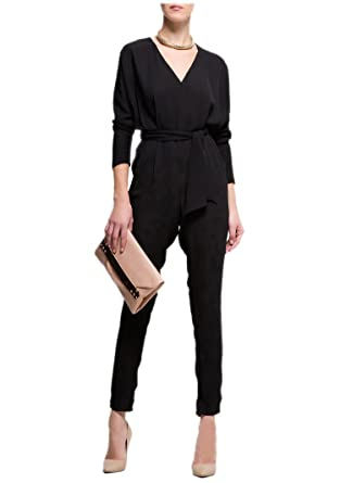 Purpura Erizo Womens High Waist Long Sleeve Black Chiffon Jumpsuit ...