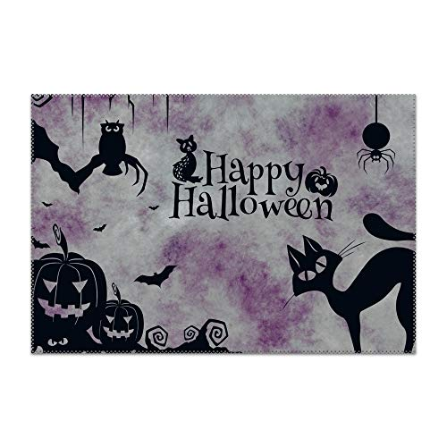 EIGTU Happy Halloween Cat Pumkins Clipart Placemats Dining Table,Heat-Resistant Placemats,Stain Resistant Table Mats,Kitchen Table mats,Sets 6 ()