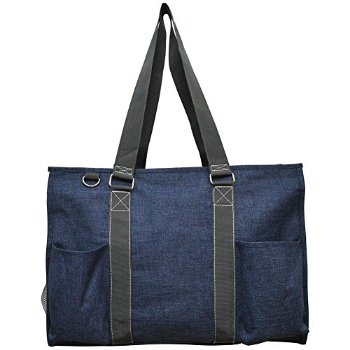 """N. Gil All Purpose Organizer 18"""" Large Utility Tote Bag 3-2017 Spring New Pattern (Crosshatch Blue)"""