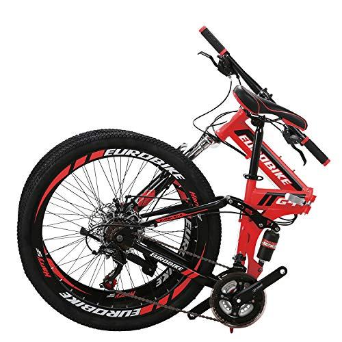 "Eurobike 26"" Full Suspension Mountain Bike 21 Speed Folding Bicycle Men or Women MTB (Red)"
