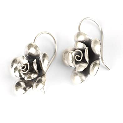 81stgeneration Karen Hill Tribe Fine Pure 999 Sterling Silver handcraft flower rose earrings pair i73jP