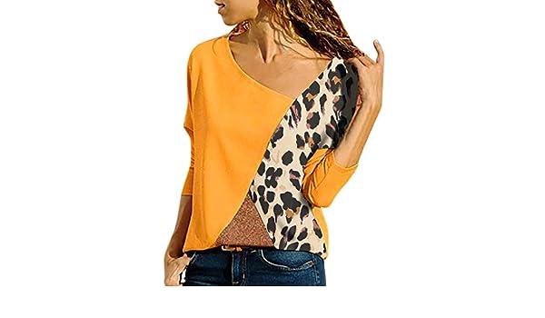 AOJIAN Blouse Women Long Sleeve T Shirt Splicing Color Leopard Print Easy Tunic Tank Shirts Tops at Amazon Womens Clothing store: