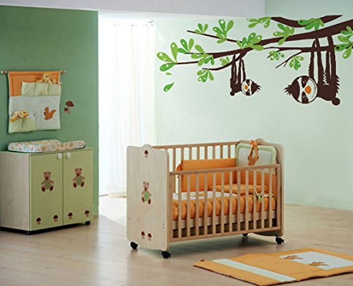 Pop Decors Pt-0124-Va Beautiful Wall Decal, Sloths And Branches, 47&Quot; -