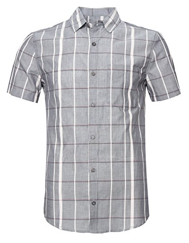 SOOPO Men's Slim-Fit Short Sleeve Plaid Twill Shirt Grey XL by SOOPO