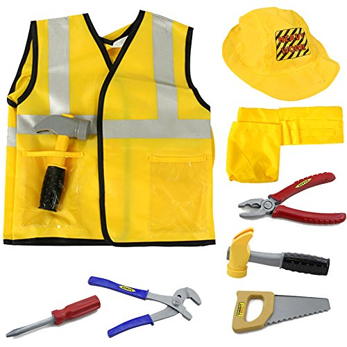 [Construction Worker Costume Role Play Kit Set, Engineering Dress Up Gift Educational Toy For Halloween Activities Holidays Christmas for 2, 3, 4, 5, 6, 7 Year Old Kids Toddlers Boys - iPlay, iLearn] (Construction Girl Costume)