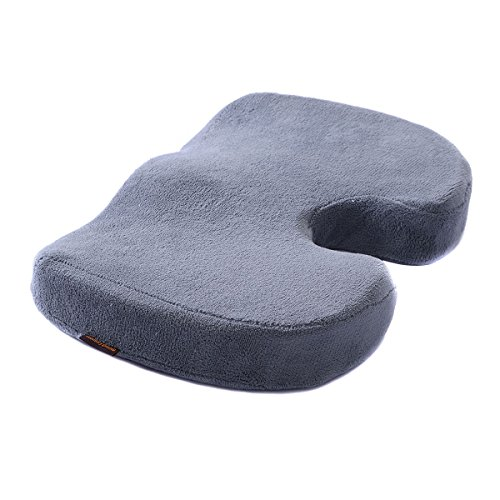 Price comparison product image Memory Foam Coccyx Orthopedic Cushion Office Chair Seat Pain Relief Pillow Gray