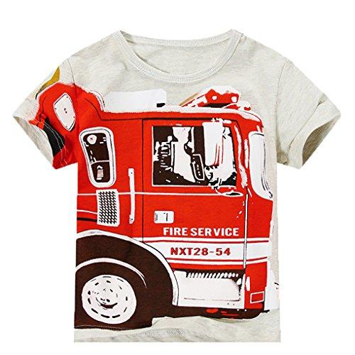 Endymion Meow Baby Boys Short Sleeves White Tee Firetruck Tee (Fire Short Sleeve T-shirt)