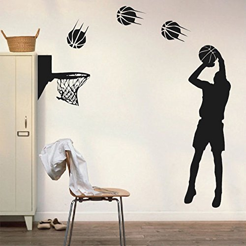 Dnven DIY Vinyl Basketball Players Shot Silhouette with Basketballs and Basketry Wall Decals Stickers for Boy Rooms (Shot)