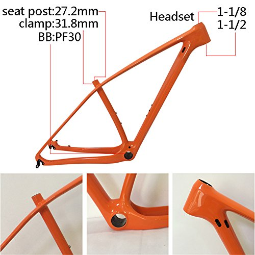 SmileTeam T1000 Carbon Orange Mtb Frame 29er Mtb Carbon Frame 29 Carbon Mountain Bike Frame 142x12 or 135x9mm Bicycle Frame