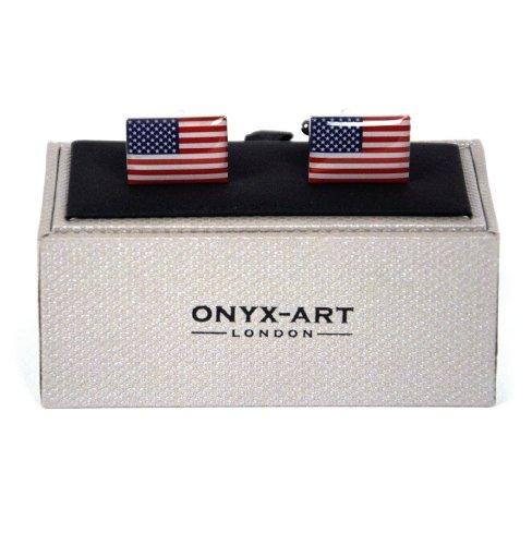 Onyx Art Cufflinks - Star Spangled Banner Usa Flag ()