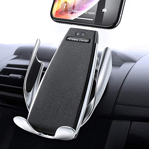 Vehicle-Mounted Phone Bracket, with Wireless Quick Charging Function,Fully Automatic Intelligent Induction Telescopic,car Phone Mount Vent, 360 Rotating Mount,Universal Mobile Phone Bracket (Black)