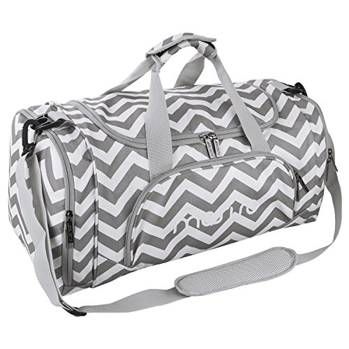 MOSISO Gym Bags Polyester Sports Travel Overnight Duffels for Men/Ladies, Chevron Gray