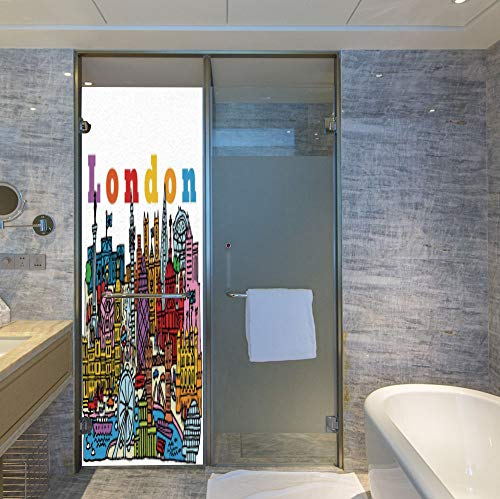 YOLIYANA Frosted Window Film Stained Glass Window Film,London,Work Well in The Bathroom,Multicolor Cartoon Style Vector Illustration of Cityscape with,24''x78''