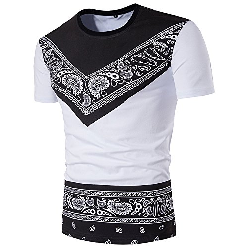 SFE Fashion Shirts,Men's Summer Casual African Print Pullover Short Sleeve T-Shirt Top Blouse -