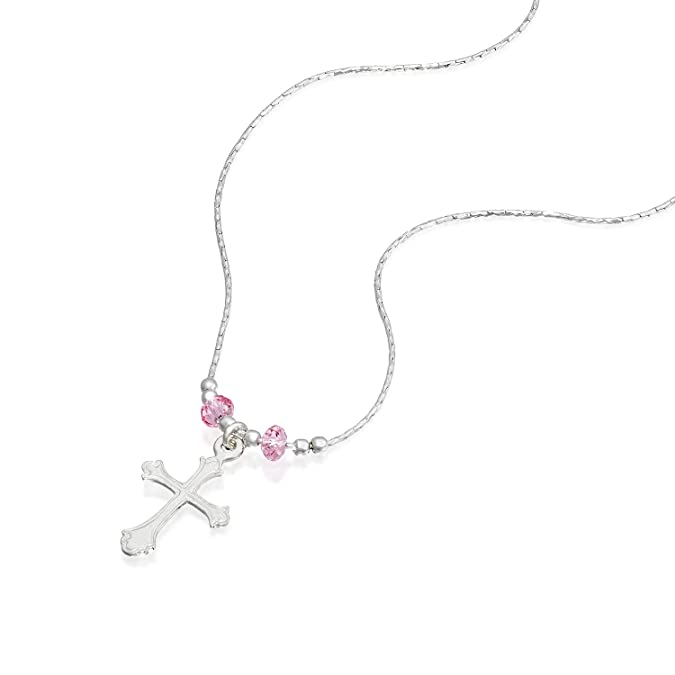 62ab6306e53df Stera Jewelry Girls Silver Necklace with Cross Pendant Made with Light Rose  Swarovski Crystals