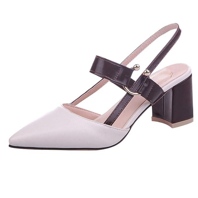 Darringls_Zapatos para Mujer,Zapatillas Puntiagudo Hebilla Sandalias Talón Grueso Botines Tacon Medio: Amazon.es: Ropa y accesorios