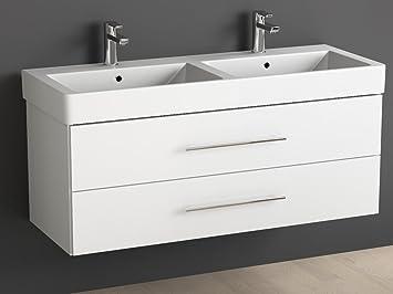 Aqua Bagno Badmöbel 120 cm inkl. Keramik Doppelwaschtisch/Badezimmer Möbel  inkl. Doppel-Waschbecken mit Unterschrank - 2 hochwertige softclose ...