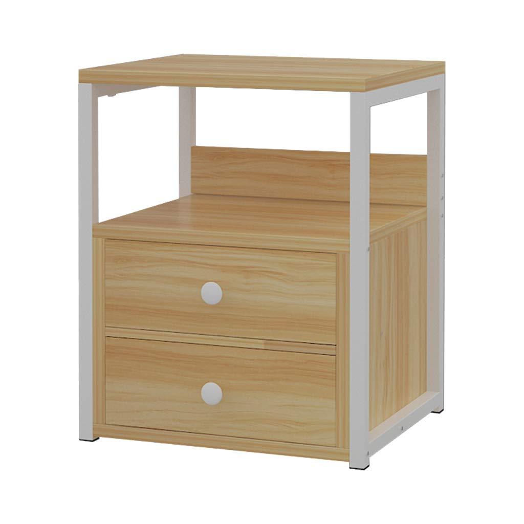 Mesita de Noche Armario de Dormitorio Armario de Almacenamiento Simple Armario de cabecera Un Cubo Blanco cálido (el Producto Solo Incluye mesita de Noche)