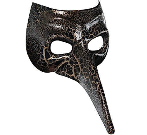 Venetian Long Nose Mask - Black/Gold