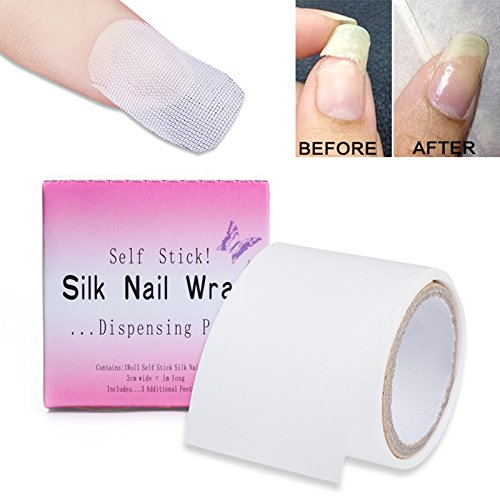 Fiberglass Nail Wrap Strong Nail Protector for UV Gel Acrylic Nails Self Adhesive Fiberglass & Silk Wrap Nail Art Tool Reinforce Pack of 2 ()