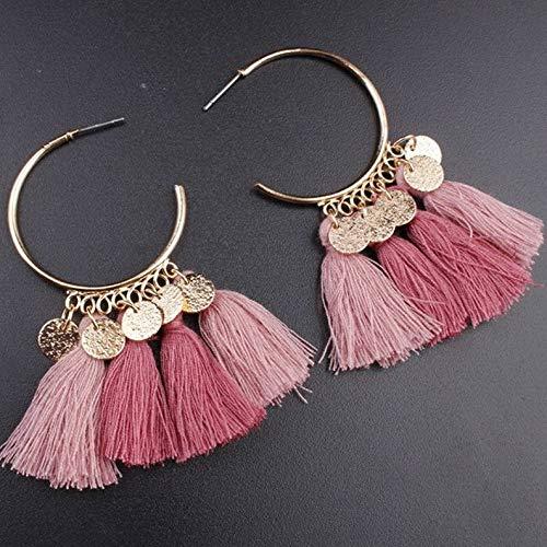(Dokis Women Bohemian Boho Multicolor Tassel Drop Dangle Hoop Earrings Jewelry Gift | Model ERRNGS - 3086)