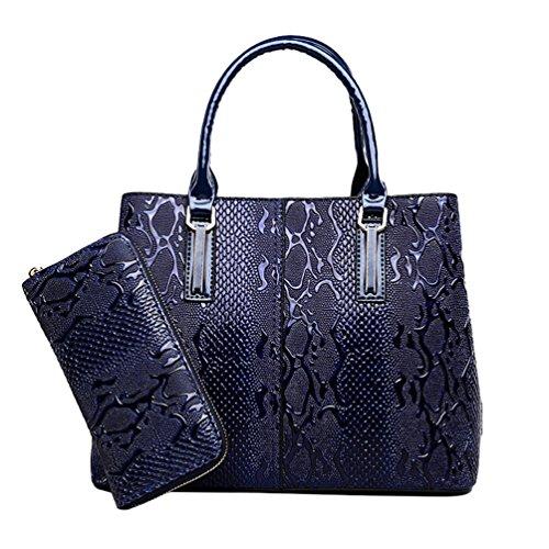Bolso Piezas Mujer de Azul Exquisito Billetera Popular de Conjunto Slido Oscuro 2 Color Elegante un Cuero Jacquard Dexinx wtZRR