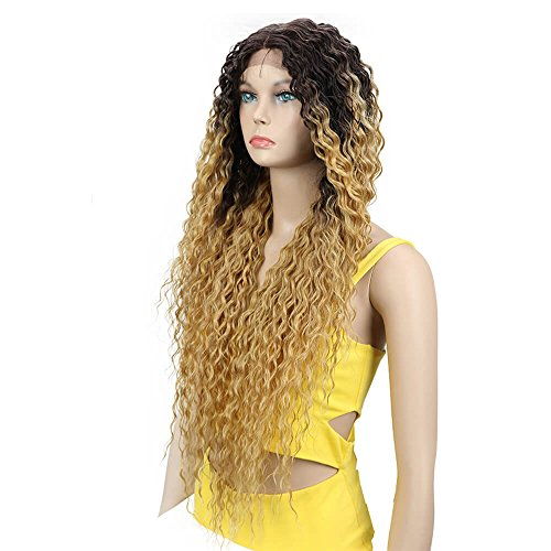 Joedir Lace Front Wigs Ombre Blonde 28'' Long Small Curly Wavy Synthetic Wigs For Black Women 130% Density Wigs