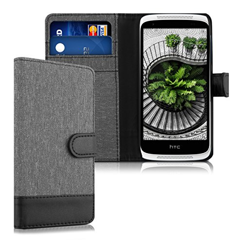 kwmobile Wallet Case for HTC Desire 526G - Fabric and PU Leather Flip Cover with Card Slots and Stand - Grey/Black
