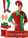 Elf Costume Christmas Red/Green Adult Unisex Complete Costume Kit - Standard