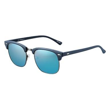 JULI Mens Womens 3016 Vintage Clubmaster Schildkröte Rahmen schwarz Objektiv halbrandlosen 52 MM polarisierte Sonnenbrillen Spooii4kWS