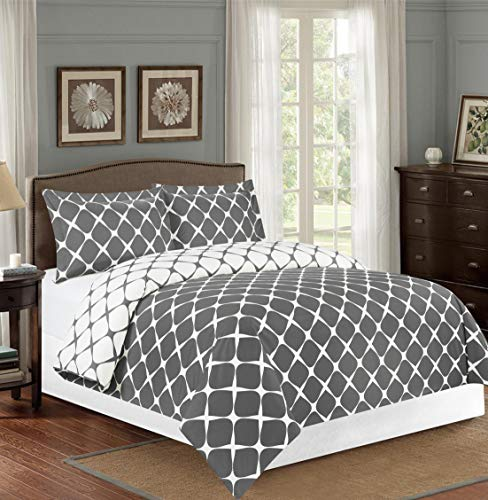 Elegant Comfort  Luxury Soft and Cozy 1500 Thread Count Premium Hotel Quality 3-Piece Milano Trellis Pattern 2-Tone Printed Reversible Duvet Cover Set with Shams, Full/Queen, Grey