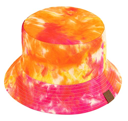 Funky Junque Bucket Hat Packable Outdoor Hiking Camping Fishing Mens Boonie Cap (Reversible - Tie Dye/Rose) Boonie Hat All Weather Hat